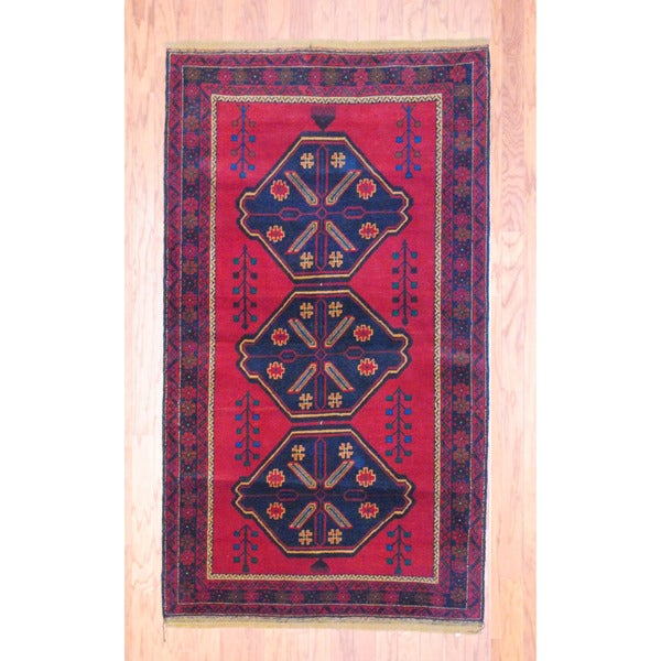 Afghan Hand-knotted Tribal Balouchi Red/ Navy Wool Rug (3'7 x 6'7)