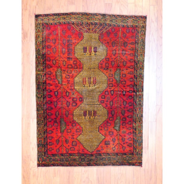 Afghan Hand-knotted Tribal Balouchi Red/ Light Brown Wool Rug (3'7 x 5'2)