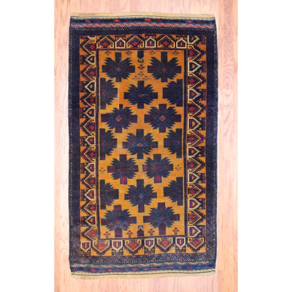 Afghan Hand-knotted Tribal Balouchi Gold/ Brown Wool Rug (3'9 x 6'9)