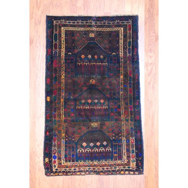 Afghan Hand-knotted Tribal Balouchi Brown/ Green Wool Rug (3'9 x 5'11)