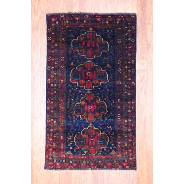 Afghan Hand-knotted Tribal Balouchi Navy/ Burgundy Wool Rug (3'6 x 6'1)