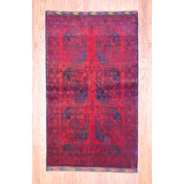 Afghan Hand-knotted Turkoman Burgundy/ Black Wool Rug (3'9 x 6'7)