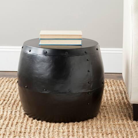 """Safavieh Cerium Black Iron Drum Stool - 17"""" x 17"""" x 14.5"""""""