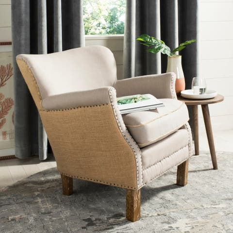 "Safavieh Jenny Beige/ Tan Arm Chair - 26.6"" x 28.9"" x 29.3"""