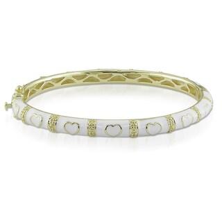 Miadora Gold over Silver White Enamel Heart Design Bracelet