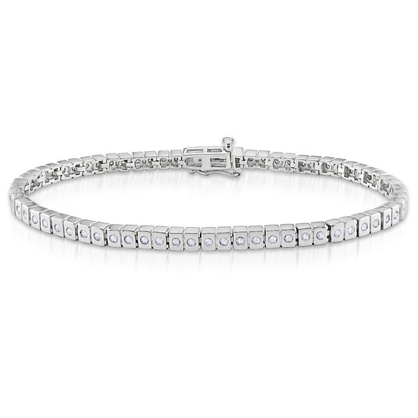 Miadora Sterling Silver 1ct TDW Diamond Bracelet