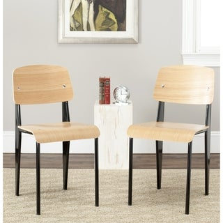 Safavieh Metropolitan Dining Nembus Black/ Oak Finish Dining Chairs (Set of 2)