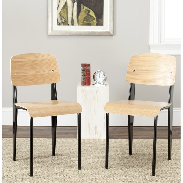 Safavieh Metropolitan Dining Nembus Black/ Oak Finish Dining Chairs (Set Of  2)