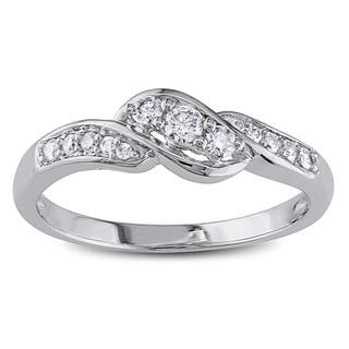Miadora 10k White Gold 1/4ct TDW Diamond Ring