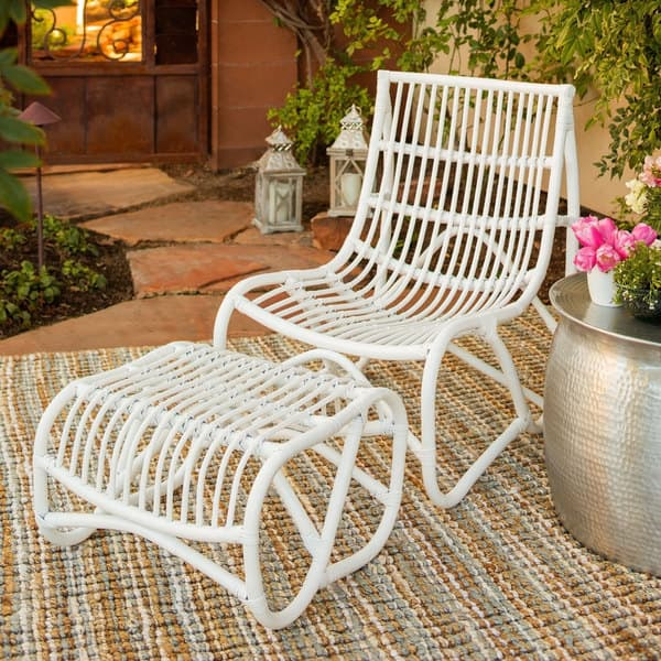 Terrific Shop Safavieh Shenandoah White Wicker Chair And Ottoman Set Inzonedesignstudio Interior Chair Design Inzonedesignstudiocom