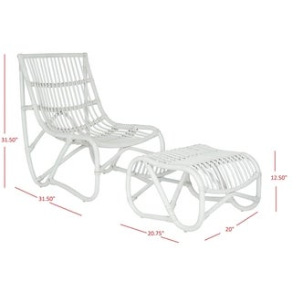 "Safavieh Shenandoah White Wicker Chair and Ottoman Set - 22"" x 30.5"" x 32"""