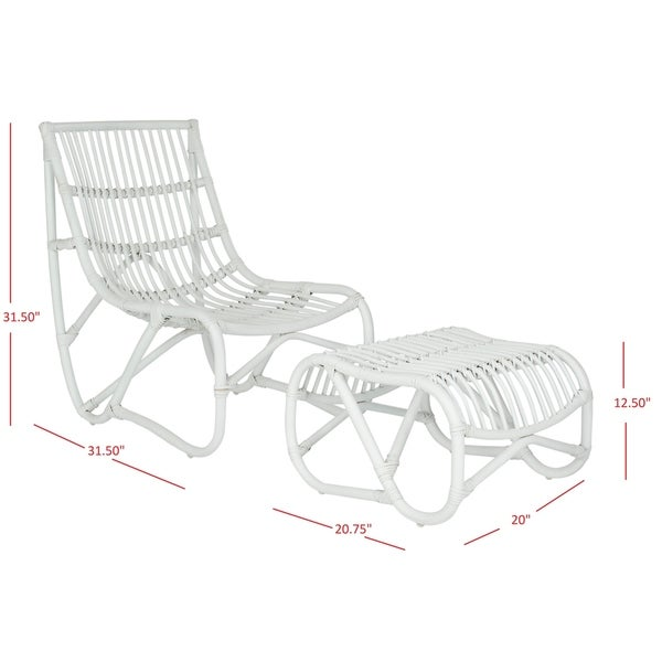 """Safavieh Shenandoah White Wicker Chair and Ottoman Set - 22"""" x 30.5"""" x 32"""". Opens flyout."""