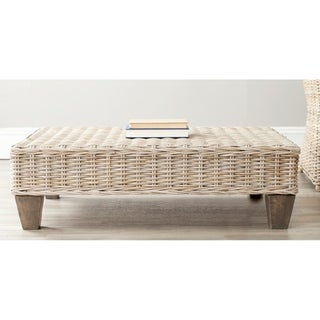 "Safavieh Leary Washed Natural Wicker Bench - 40.6"" x 27.6"" x 12.2"""