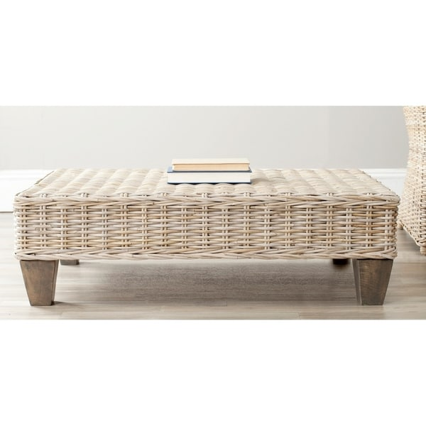 """Safavieh Leary Washed Natural Wicker Bench - 40.6"""" x 27.6"""" x 12.2"""""""