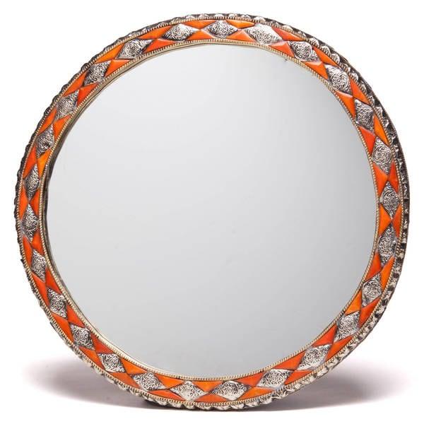 18-Inch Round Hand-Carved Henna Bone Moroccan Mirror , Handmade in Morocco - Orange