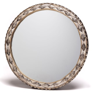18-Inch Round Hand-Carved Bone Moroccan Mirror (Morocco)