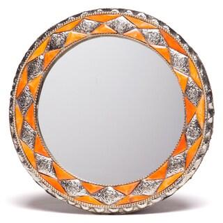 11-Inch Round Handmade Henna Bone Moroccan Mirror (Morocco)