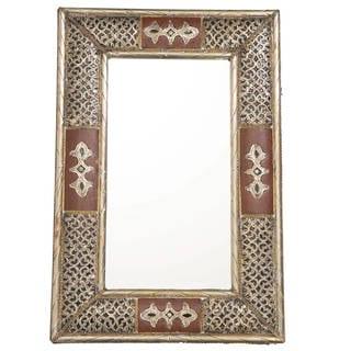 "Handmade Metalwork and Leather Mirror - 24"" x 16"" (Morocco)"
