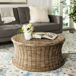 safavieh ruxton storage natural wicker coffee table