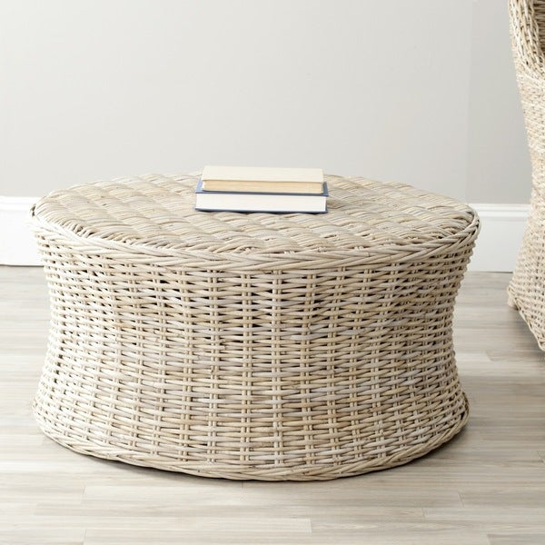 Round Wicker Coffee Table With Storage: Safavieh Ruxton Storage Natural Wicker Coffee Table
