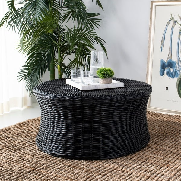 Black Wicker Coffee Table: Shop Safavieh Ruxton Storage Black Wicker Coffee Table