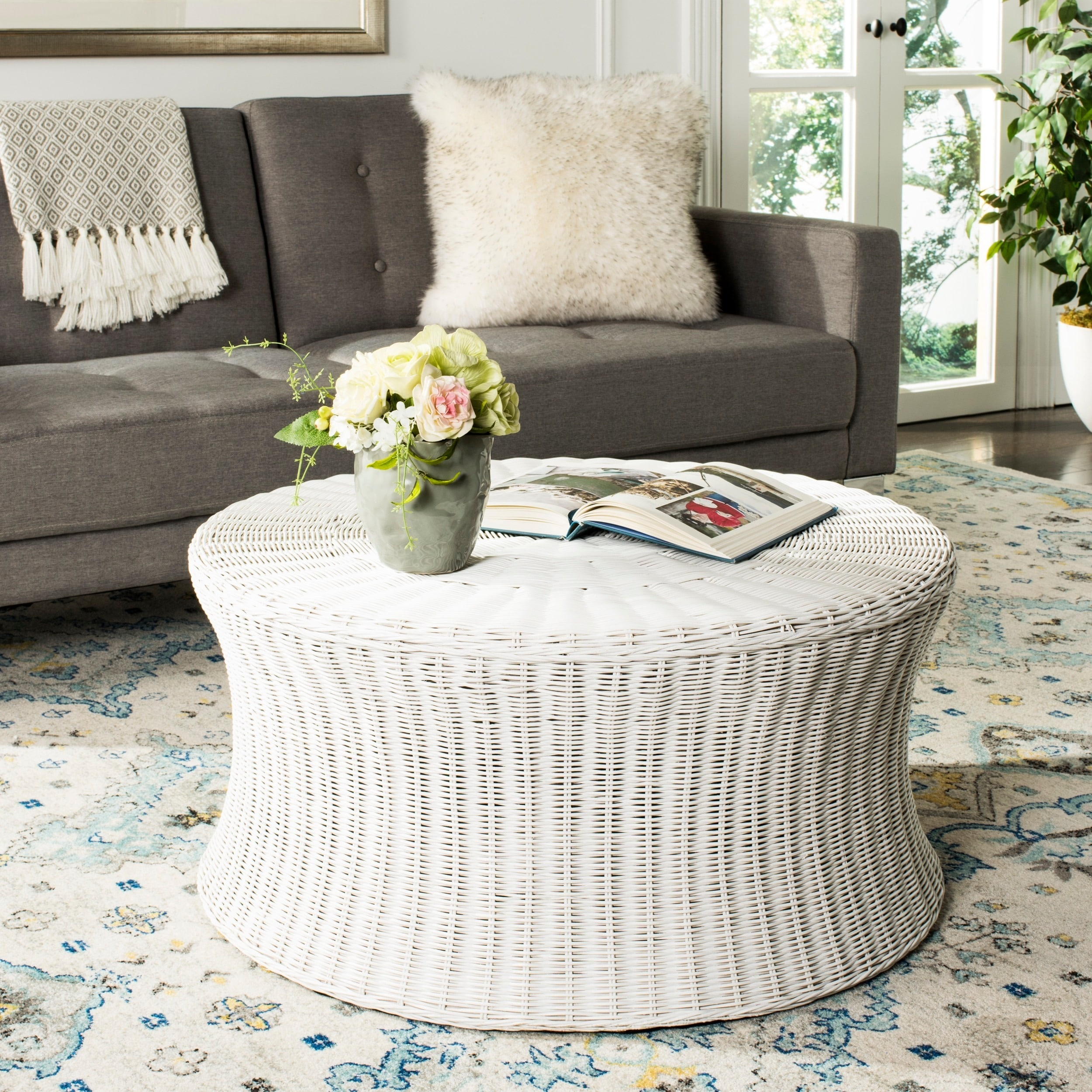 Modern Indoor White Round Wicker Coffee Table Ottoman Tray For ...