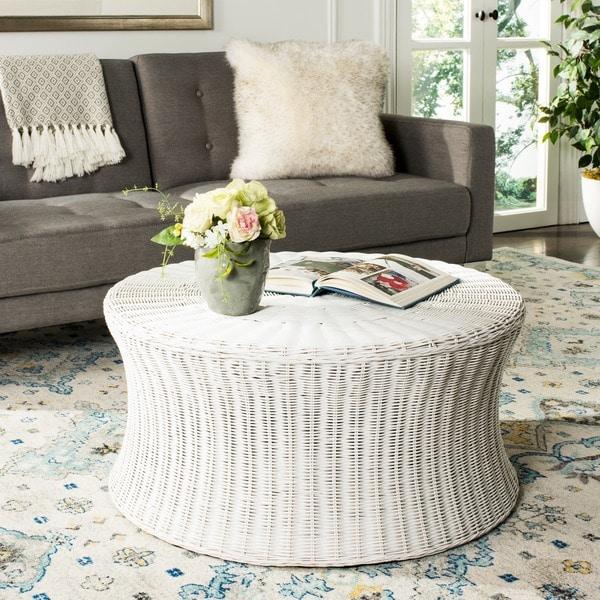 safavieh ruxton white wicker coffee table - free shipping today