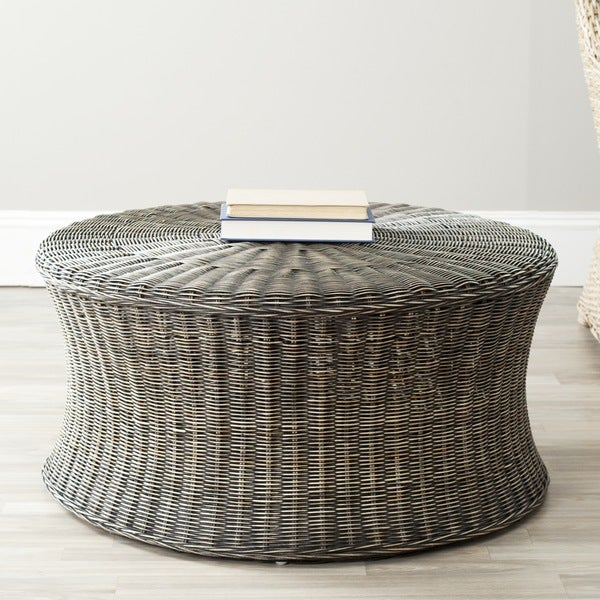 Safavieh Ruxton Storage Dark Brown Wicker Coffee Table