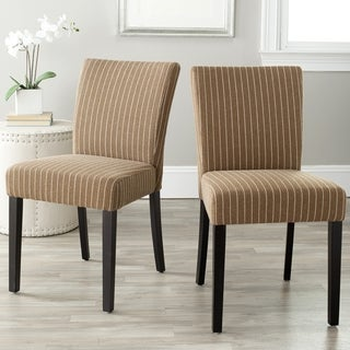 Safavieh Parsons Dining Camille Brown Pinstripe Side Chairs (Set of 2)