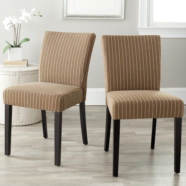Safavieh Parsons Dining Camille Brown Pinstripe Dining Chairs (Set of 2)