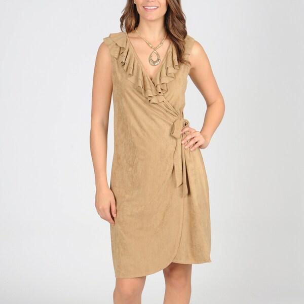 Tiana B Women's Faux Suede Ruffle Wrap Dress