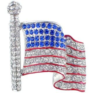 Silvertone Blue and Clear Crystal American Flag Brooch