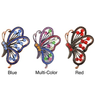 Silvertone Multi-colored Crystal Flying Butterfly Brooch