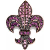 Silvertone Purple Crystal Fleur de Lis Sign Brooch