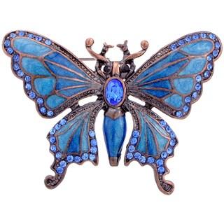 Rosetone Blue Crystal Art Deco Butterfly Brooch