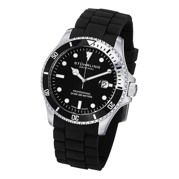 Stuhrling Original Men's Stainless Steel Regatta Diver Sport Rubber Strap Watch