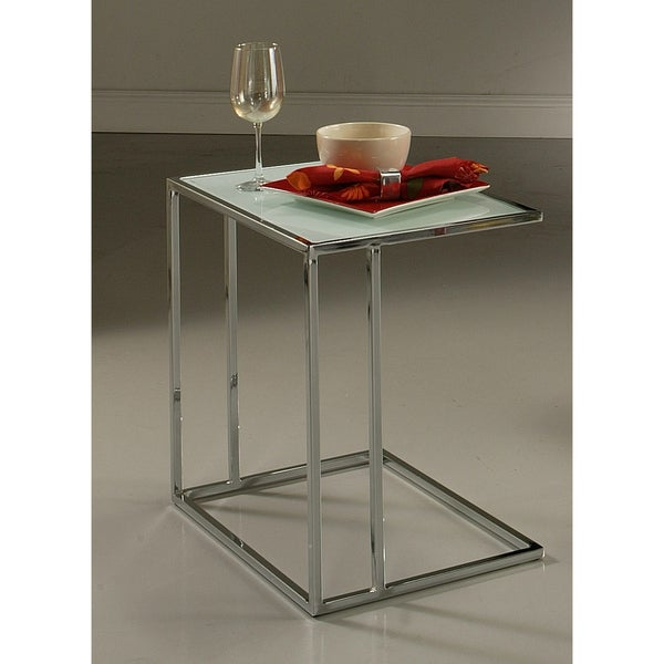 Norway Chrome White Tempered Glass End Table
