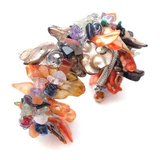 Handmade Multicolor Spikes Natural Dyed Shells Cuff (Philippines)