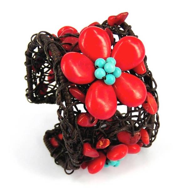 Handmade Floral Garland Cotton Rope Net Adjustable Cuff (Thailand)