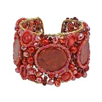 Gorgeous Synthetic Coral Oval Slab Festive Stone Mesh Red Cuff