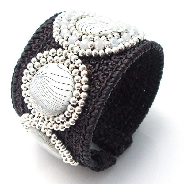 Zebra Print Silver Glass Beads Embellished Cuff (Thailand)