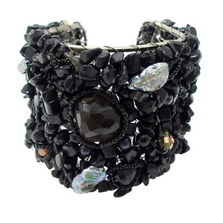 Exotic Charm Mix Stone Web Freshwater Pearl Cuff (Thailand)