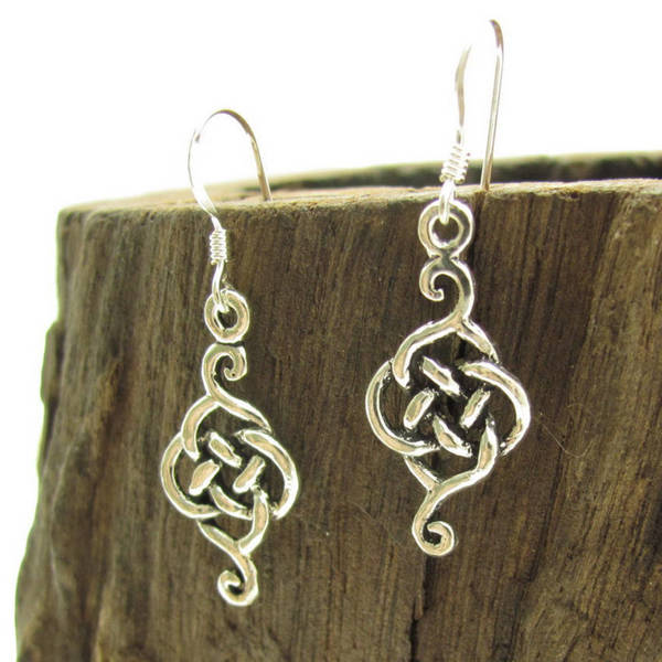 Handmade Exquisite Celtic Drop .925 Silver Dangle Earrings (Thailand)