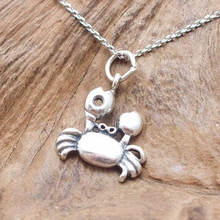 Walking Crab Oval Link Sterling Silver Necklace (Thailand)