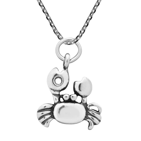 Handmade Walking Crab Oval Link Sterling Silver Necklace (Thailand)