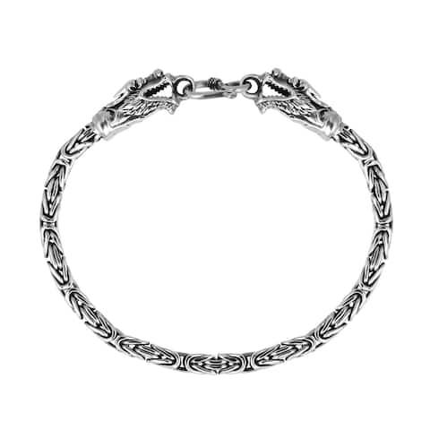 Handmade Double Headed Dragon Balinese Sterling Silver Hook Bracelet (Thailand)