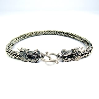 Handmade Double Headed Dragon Secrets Sterling Silver Bracelet (Thailand)