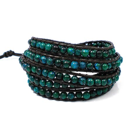 Handmade Chic Beauty Precious Stone Five Wrap Bracelet (Thailand)