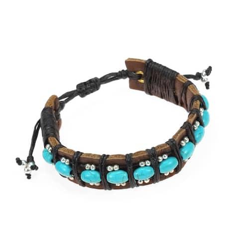Handmade Charming Turquoise Rolls Leather Bracelet (Thailand)