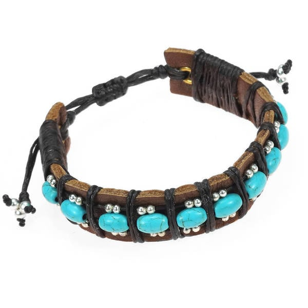 Handmade Charming Turquoise Rolls Leather Bracelet (Thailand)